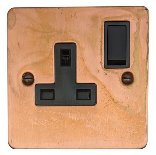 G&H FTC9B Flat Plate Tarnished Copper 1 Gang Single 13A Switched Plug Socket